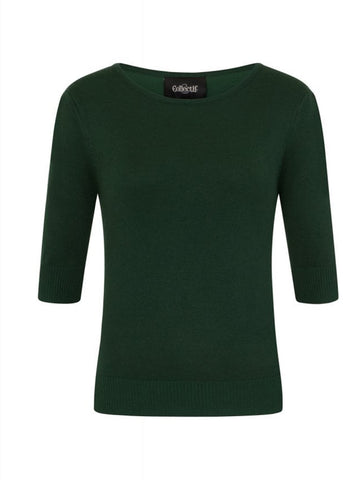 Collectif Chrissie Knitted 50's Top Donker Groen