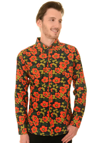 Run and Fly Heren Poppy 70's Shirt Zwart