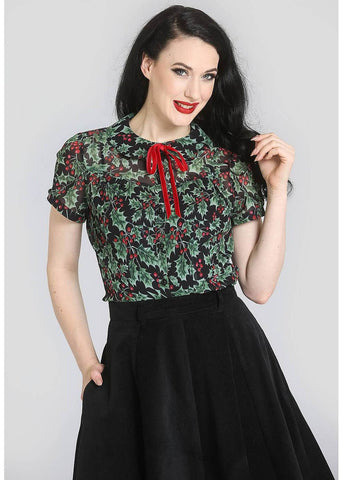 Hell Bunny Holly Berry 40's Blouse Zwart
