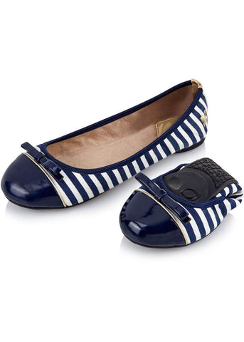 Butterfly Twist Cara Navy/White Stripes Opvouwbare Ballerina's