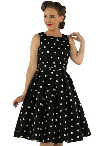 Dolly & Dotty Annie Scattered Polkadots 50's Swing Jurk Zwart Wit