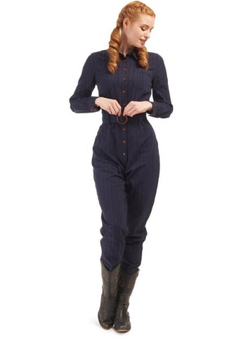 Bright & Beautiful Beth 60's Boiler Jumpsuit Blauw