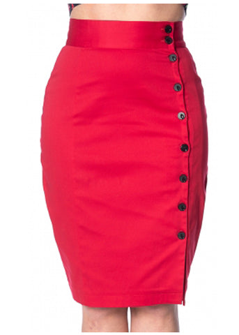 Banned Rockin 50's Pencil Rok Rood