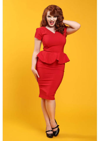 Collectif Maven 50's Pencil Jurk Rood