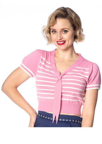 Banned Sailor Stripe Tie 50's Top Zacht Roze