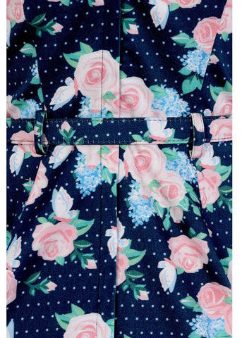 Collectif Hepburn Pretty Floral 50's Swing Jurk Navy