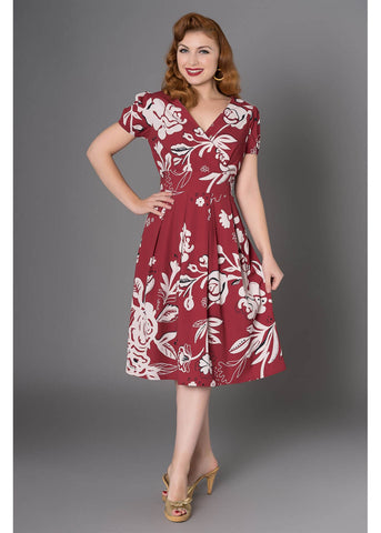 Sheen Kendra 50's Swing Jurk Burgundy
