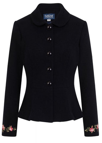 Collectif Laura Roses 50's Jacket Navy