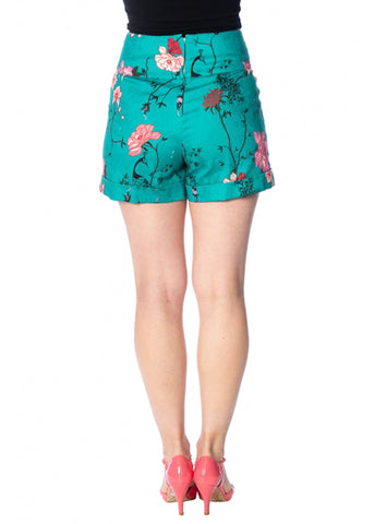 Banned Peacock Baroque 50's Shorts Teal