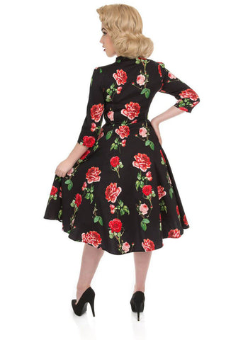 Hearts & Roses Classic Red Roses 50's Swing Jurk Zwart