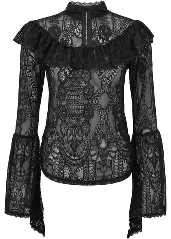 Killstar Morte Mistress Kanten Top Zwart