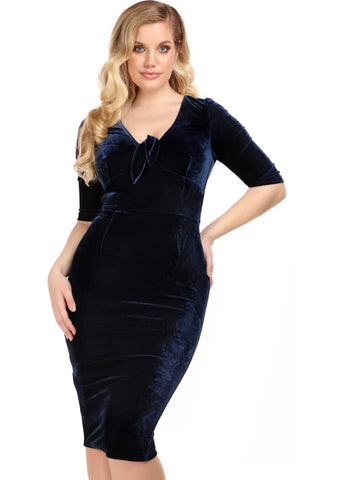 Collectif Moira Velvet 50's Pencil Jurk Navy