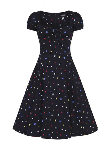 Collectif Mimi Rainbow Star 50's Swing Jurk Zwart