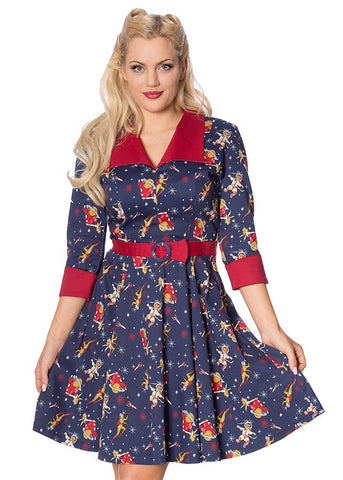 Banned Space Vamp 60's Swing Jurk Navy