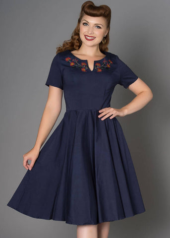 Sheen Vivian 50's Swing Jurk Navy