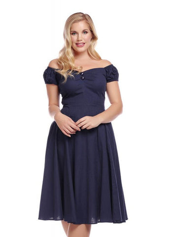 Collectif Dolores Vintage 50's Swing Jurk Navy