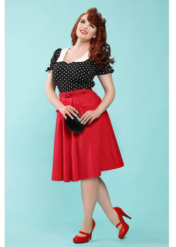 Collectif Dakota 50's Swing Rok Rood