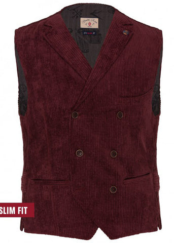 Club of Gents Saville Row Mathew Corduroy Gilet Bordeaux