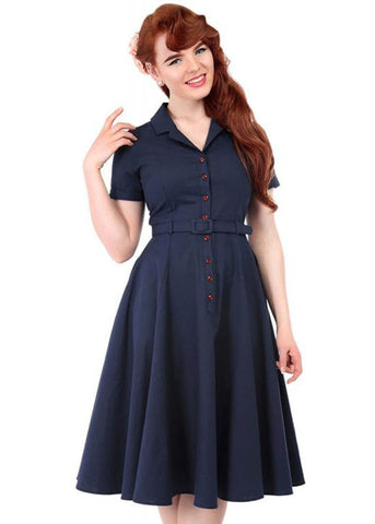 Collectif Caterina Vintage 40's Swing Jurk Navy