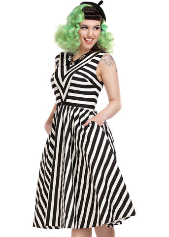 Collectif Joanie Striped 60's Swing Jurk Zwart Wit