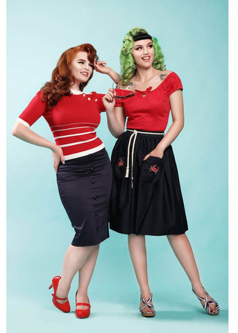 Collectif Josie Crab 60's Rok Navy