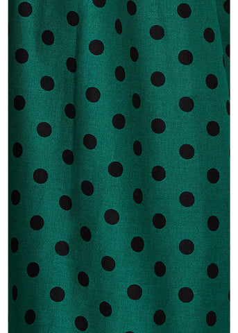 Dolly & Dotty Sophia Polkadot 50's Swing Jurk Groen Zwart
