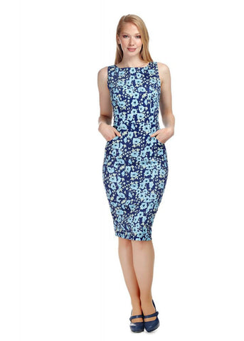 Collectif Hepburn Anemone 50's Pencil Jurk Navy