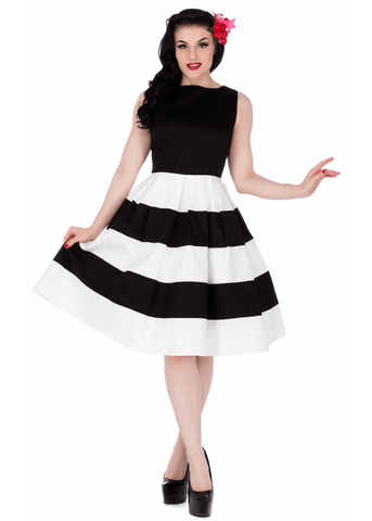 Dolly & Dotty Anna Striped 50's Swing Jurk Zwart Wit