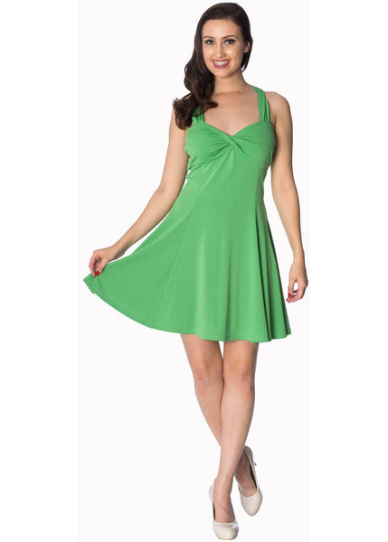 Banned It's The Twist Strappy 60's Jurk Appel Groen