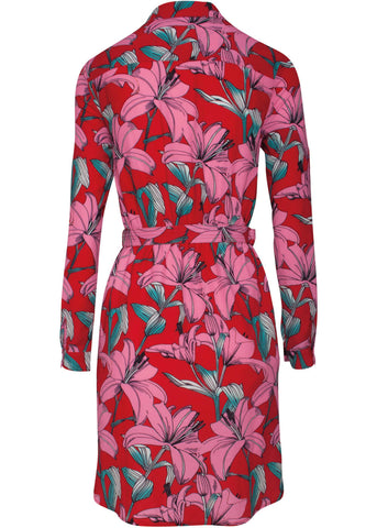 Smashed Lemon Lavish Flowers 70's Jurk Rood Roze