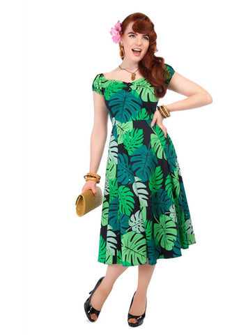 Collectif Dolores Tahiti Palm Swing Jurk