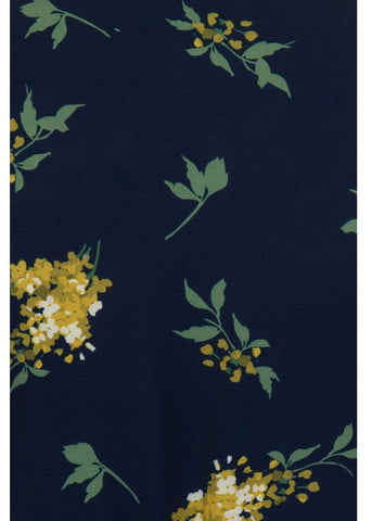 Collectif Wilhelmina Buttercup Floral 40's Wrap Jurk Navy