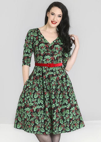 Hell Bunny Holly Berry 50's Swing Jurk Zwart