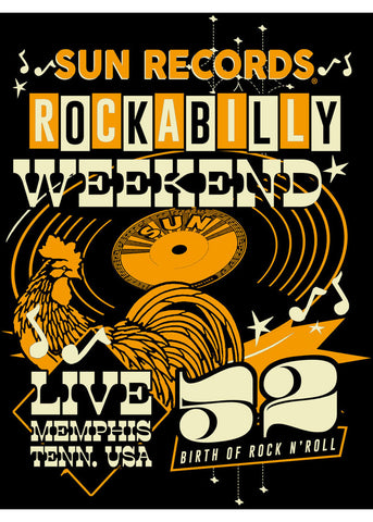 Rock Steady Clothing Rockabilly Weekend T-Shirt Zwart