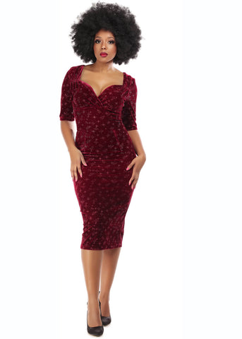 Collectif Trixie Velvet Sparkle 50's Pencil Jurk Wijn