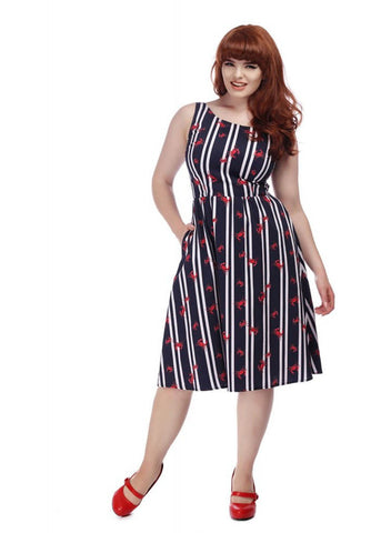 Collectif Ginevra Crabs And Stripes 60's Swing Jurk Multi