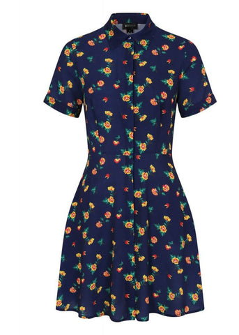 Bright & Beautiful Talis Painted Floral 60's Jurk Navy