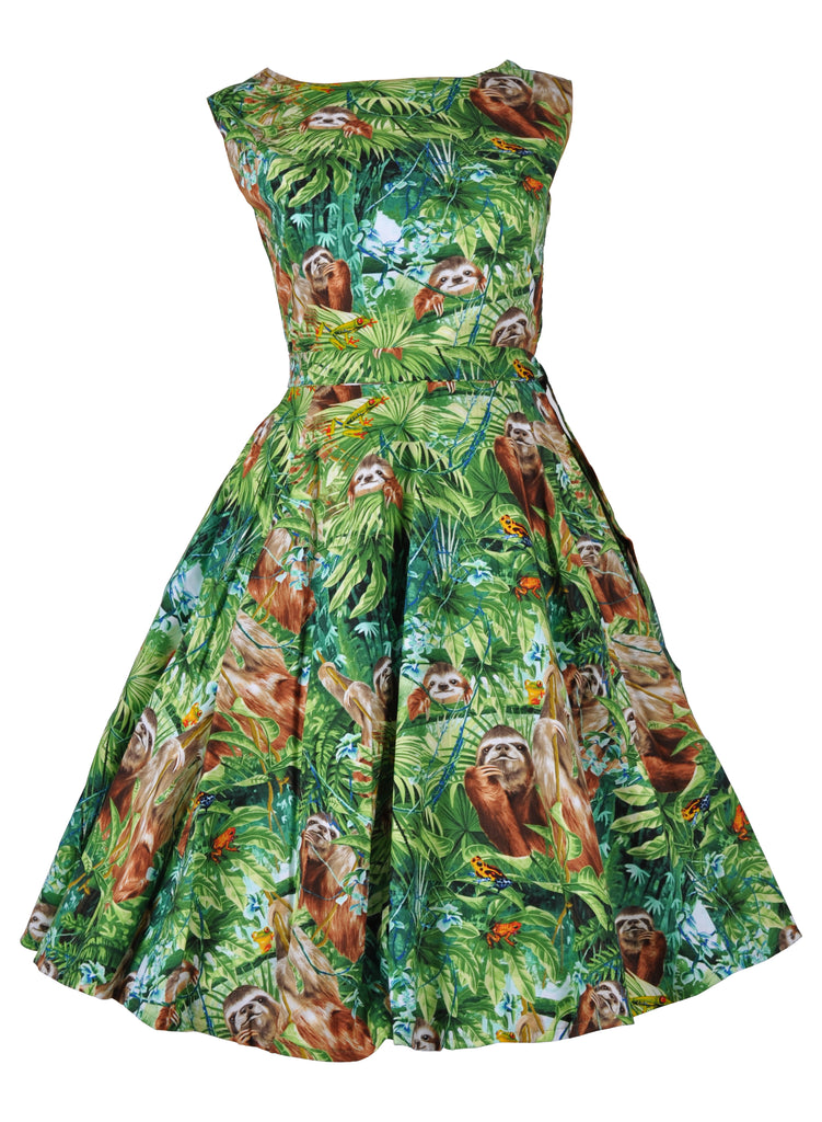 2b31a7f3b71a90 Victory Parade Rosa Sloth Jungle 50 s Swing Jurk Groen ♥ Shop nu op ...