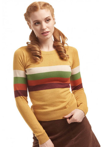 Bright & Beautiful Sydney Striped 70's Jumper Mosterd