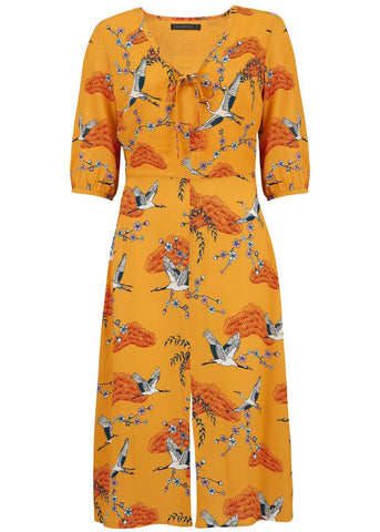 Sugarhill Boutique Alice Birds Of Happiness 60's Midi Jurk Mosterd