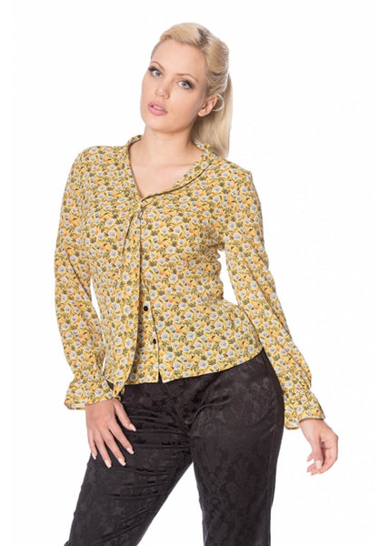 Banned Ruffle My Feathers 60's Blouse Mosterd