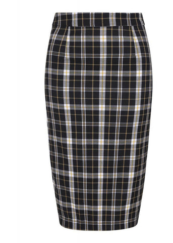 Collectif Polly Geek Check 40's Pencil Rok Zwart