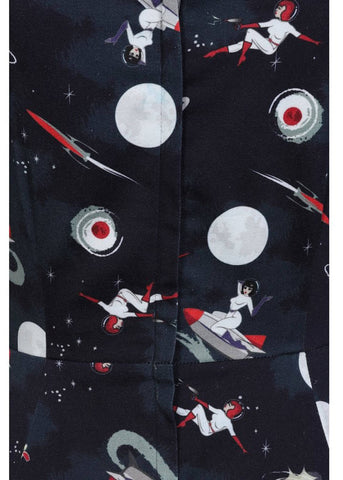 Collectif Dolores Space Pin Up 50's Swing Jurk Multi