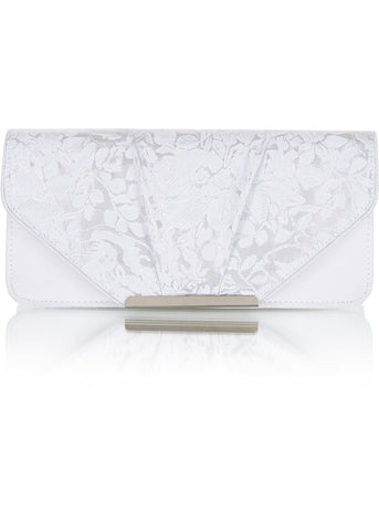 Ruby Shoo Bologna Clutch Tas Wit Zilver