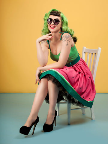 Collectif Jade Watermelon 50's Swing Jurk Groen