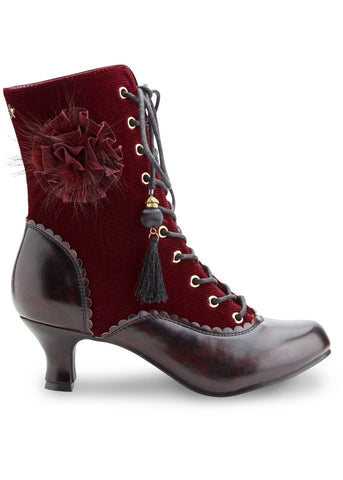 Joe Browns Couture Harlem Velvet 40's Laarsjes Burgundy