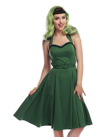Collectif Beth Fringe 50's Swing Jurk Groen