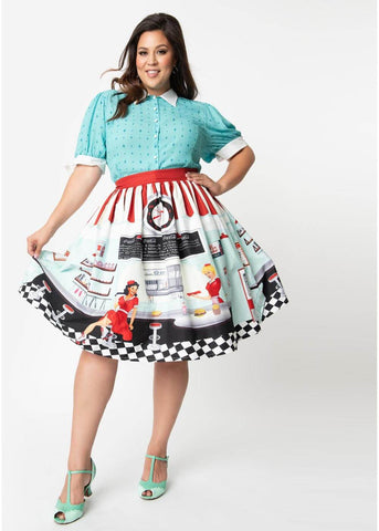 Unique Vintage x Coca Cola Diner Scene 50's Swing Rok Multi