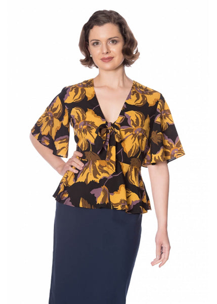 Banned Polly Peplum 50's Top Mosterd