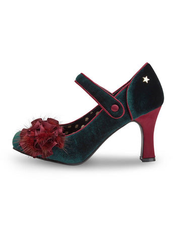 Joe Browns Couture Parade Velvet Pumps Groen